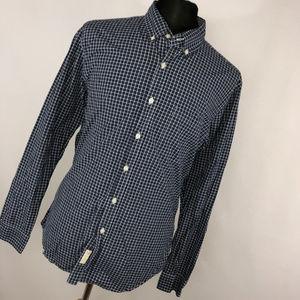 J. Crew L Large Shirt 16 16.5 Blue White Checkered